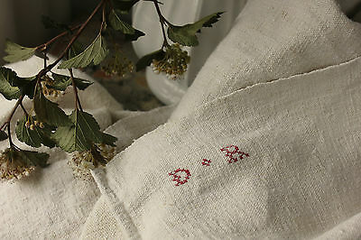 Antique French linen sheet DR hand woven homespun  19th old 85X88 5.6 POUNDS