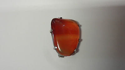 Vintage Attractive Sterling Silver & Hard Polished Stone / Agate Brooch