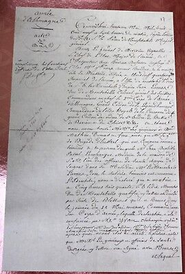 1809  Napoleon. Death Certificate for Marshal Lannes
