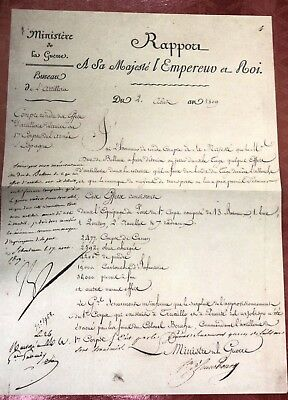 1809 Napoleon. Statement concerning loss of equipment during retreat