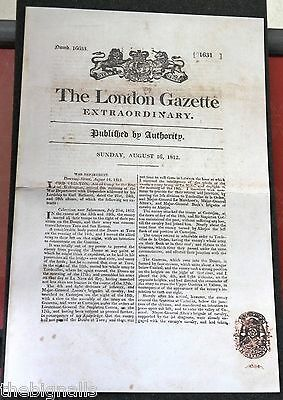 1812, Special Edition THE LONDON GAZETTE with Wellington's report of Salamanca