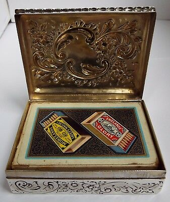 Superb Large Heavy English Antique 1896 Solid Sterling Silver Playing Card Box