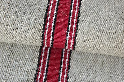 GRAINSACK GRAIN SACK fabric linen homespun European red black OLD SACK bag