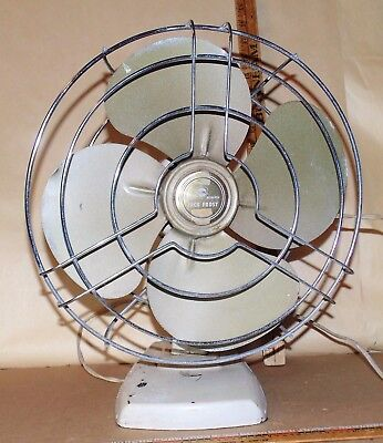 "Vintage KM Jack Frost Metal Fan Knapp Monarch - 12"" - Does work"
