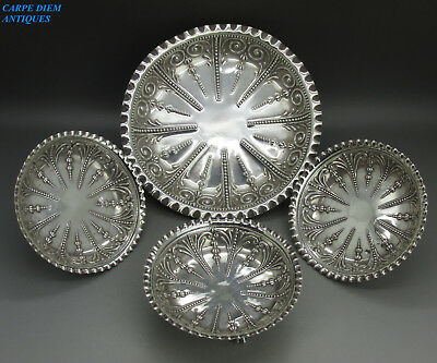 Antique Victorian Luxury Solid Sterling Silver 4Ps Fruit & Nut Dish Set M&h 1891