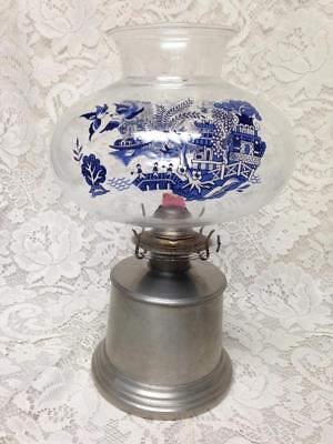 Vintage, Rare, 12in T Intl. Silver, Pewter Oil Lamp w/ Glass Blue Willow Chimney