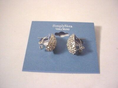 Vtg Simply Vera Wang Silver Rhodium Sparkle Rhinestone Elegant Pierced Earrings