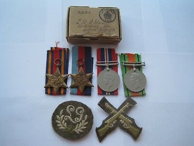 Ww2 Army Medal Group Of 4,boxed With Badges,from Bognor Regis