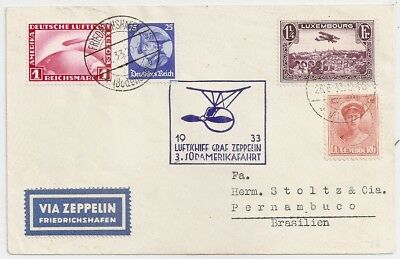 1933 Luxembourg / Germany Zeppelin Mixed Franking Cover To Brazil, Rare