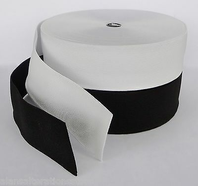 "5 Metres Flat 50mm (2"") woven BRITISH white elastic"