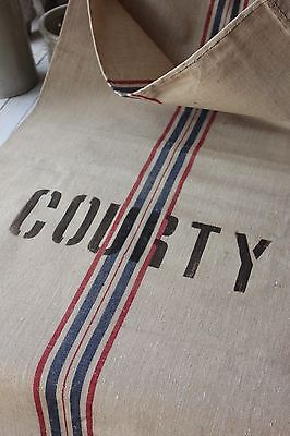 GRAINSACK GRAIN SACK FRENCH stripe linen COURTY surname feed bag printed old