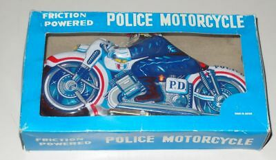 Japan Blech Motorrad Friction Powered Police Motorcycle ca. 25 cm