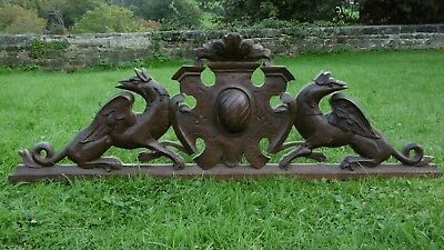SUPERB 19thc GOTHIC OAK CARVED PEDIMENT WITH WINGED GARGOYLES