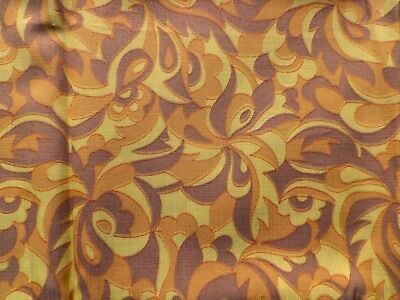 Vintage 1950's Rayon Fabric Retro Abstract Design in Yellow