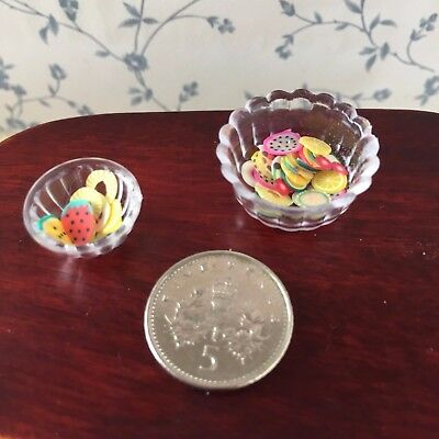1:12 Scale 2 'GLASS' DISHES/Fruit/Dessert/Bowl Kitchen/Lounge/Dining Dolls House