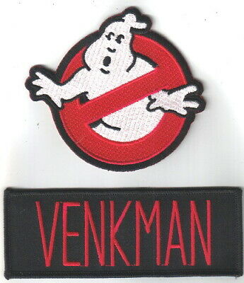 Ghostbusters the Movie Venkman Uniform Embroidered Patch Set of 2, NEW UNWORN