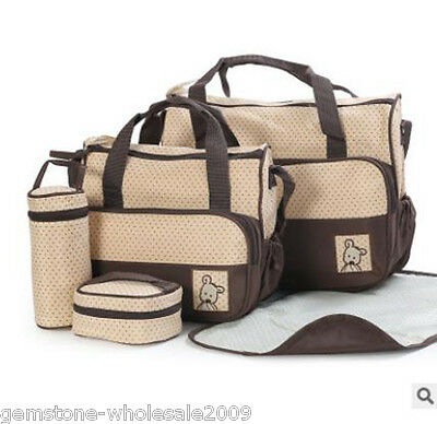 Coffee multifunctional Baby Changing Diaper Nappy Bag Mummy Mother Handbag 5pcs
