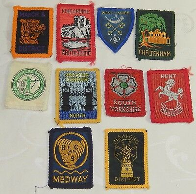 Job Lot 10 Vintage Scout County Badge Scouting Patches Collection Many Extinct