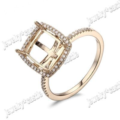 Elegant Lady Cushion Semi Mount 14K Yellow Gold Engagement Wedding Diamonds Ring