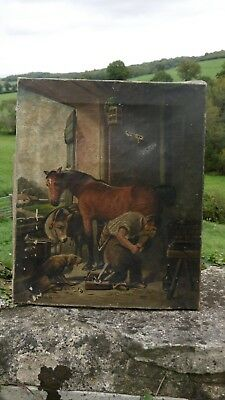 ANTIQUE 19thc OIL PAINTING OF FARRIER IN STABLE  WITH HORSE DONKEY & DOG Signed