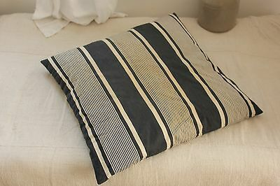 Antique Ticking French square striped blue indigo feather down pillow insert