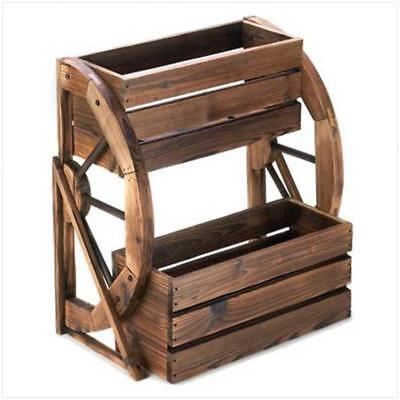 Indoor Outdoor Rustic Wagon Wheel Wood Double Tier Planter Box Brown