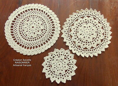NAPPERONS RONDS CROCHET d'ART CREATION SYLVETTE RAISONNIER ARTISANAT FRANCAIS