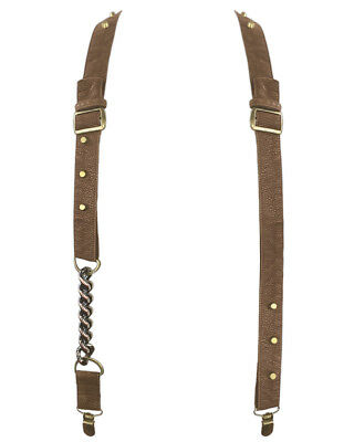 Punk Rave Braces Suspenders Brown Faux Leather Steampunk Chain Skull Goth VTG