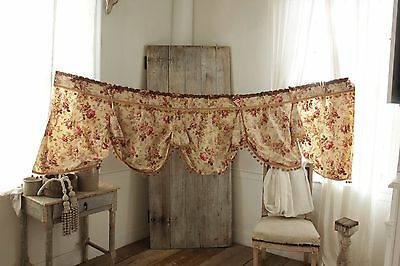 Antique Curtain French valance ciel de lit bed  hanging yellow floral c 1880