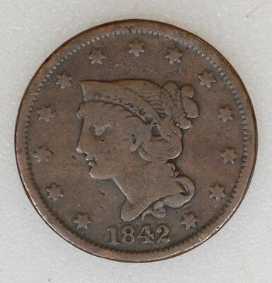 1842 Large Date Braided Hair Large Penny Cent. Decent Det No Reserve - I-7788