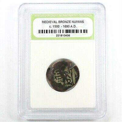 Medieval Bronze Nummis Coin with Clear Date c. 1500 - 1690's A.D.