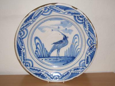 """Dutch Or English Delft Blue & White """"wading Bird"""" Charger, 17Th/18Th C., Damaged"""