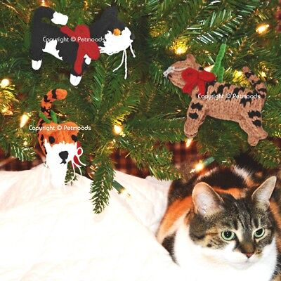 Handmade Christmas Tree Cat Ornaments Hand Knit Wool Chilly Dog - Set of 3