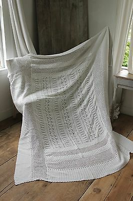 Vintage French bedcover coverlet crochet lace handmade knitted old  textile