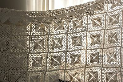 Vintage old  French Crochet hand-made lace textile coverlet tone homemade