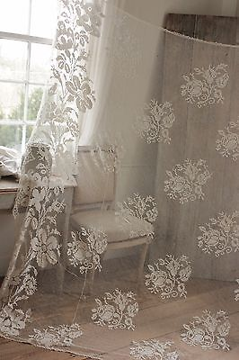 Vintage French drape curtain  coverlet Filet lace floral netting with lace