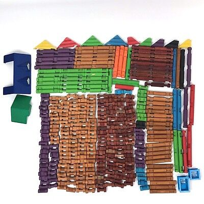 Huge Lot Lincoln Logs Vintage Colors Roof Window Pcs Many 3 Notch Building Toy