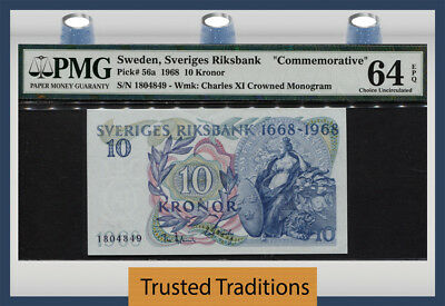 "TT PK 56a 1968 SWEDEN 10 KRONOR ""COMMEMORATIVE"" PMG 64 EPQ CHOICE UNCIRCULATED!"