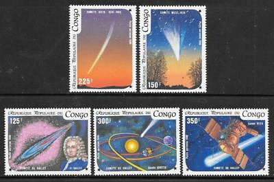 CONGO (Brazzaville) - 1986.  Halley's Comet - Set of 5, MNH