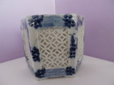 Antique Oriental Blue/white Reticulated Hexagonal Des Pot 9 Cms Tall, 11 Cms Dia