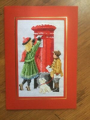 EX LGE COMPLETED/FINISHED CROSS STITCHED CHRISTMAS CARD- CHRISTMAS WISHES(10x7)