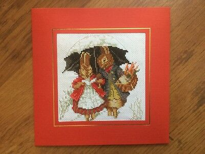 "EX LGE COMPLETED/FINISHED CROSS STITCH CHRISTMAS CARD BEATRIX POTTER(7.5""x7.5"")"
