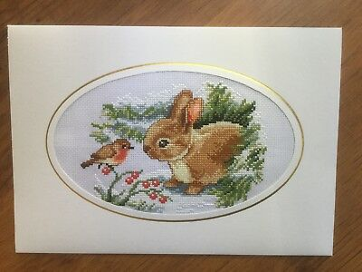 EX LGE COMPLETED/FINISHED CROSS STITCHED CHRISTMAS CARD-RABBIT AND ROBIN(10x7)