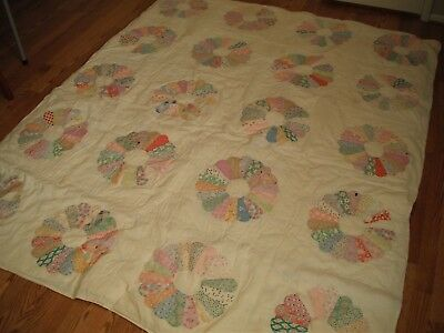 Vintage Dresden Plate Quilt Hand Tied Old Fabrics Shabby Well Loved 80 X 66