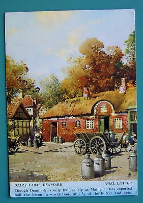 DENMARK View of Old Dairy Farm - 1940s Color Ink Blotter Print