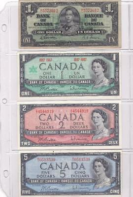 Canada 4 Notes Lot 1937 - 1967 $1 $2 $5 Bank of Canada $1