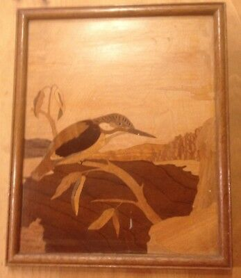 """Vintage Wooden Marquetry Kingfisher Picture 8 1/2"""" x 10 1/2"""""""
