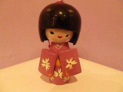 FAB VINTAGE JAPANESE WOODEN PURPLE KOKESHI DOLL 10 CMS TALL with hanger to head