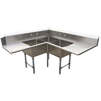 BK Resources Three Compartment Left-to-Right  Corner Soiled Dishtable