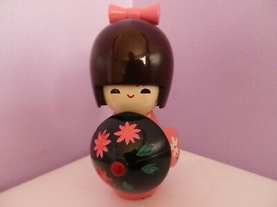 Fabulous Vintage Japanese Wooden Pink Kokeshi Doll 14 Cms Tall